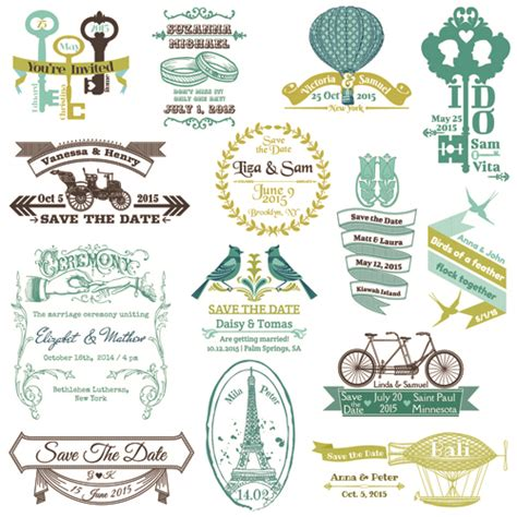design free wedding logo set of wedding logo design elements vector 01 vector