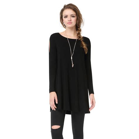 comfortable t shirts for women women s black simple fashion round neck long sleeve