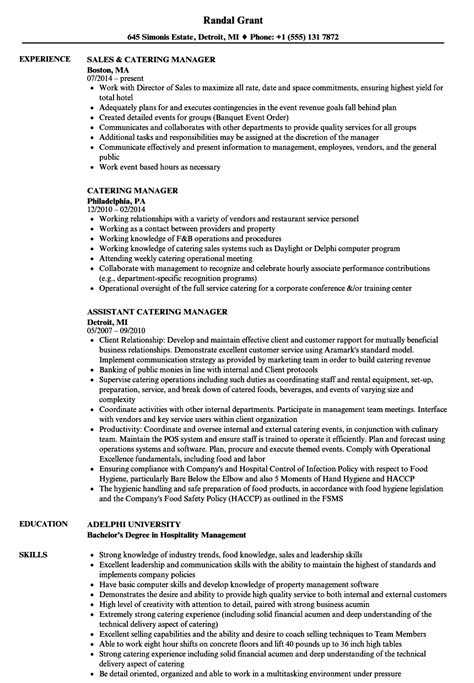 catering manager resume sles velvet
