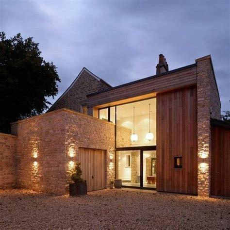 country architecture residential brick facade villa with a modern interior high