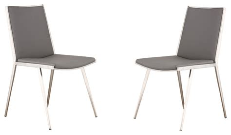 brushed stainless steel dining chairs ibiza brushed stainless steel dining chair in gray pu
