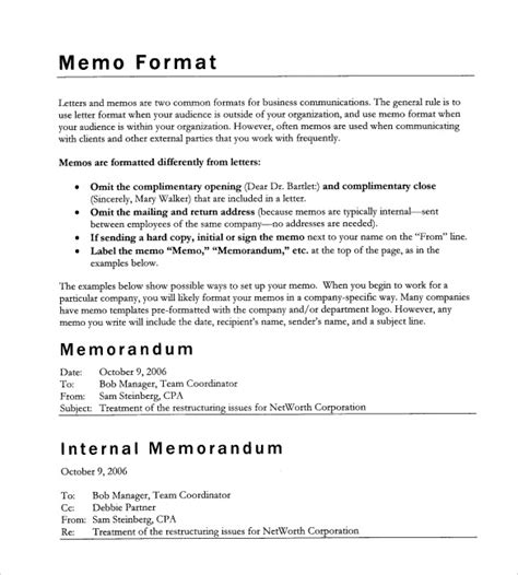 Memo Format Requirements 11 Formal Memorandum Templates Free Sle Exle Format