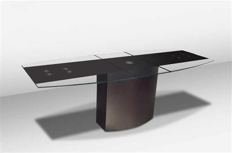 boat shaped glass table top vg 688 extendable boat shaped glass top table modern dining