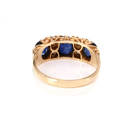 18ct antique sapphire and engagement ring