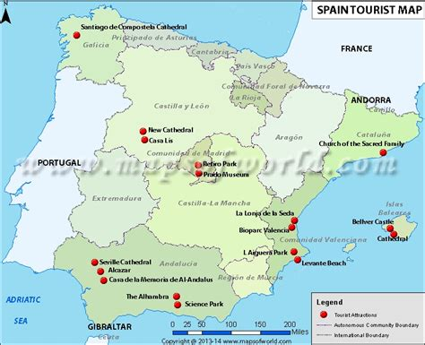 places to visit in map maps update 800650 spain tourist attractions map
