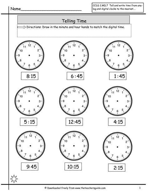 free printable quarter past worksheets telling time to nearest quarter hour math at home