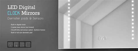 square frameless mirror with led magni er digital clock bathroom mirror digital clock israelvoice org