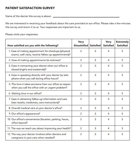 patient satisfaction survey template patient satisfaction survey 9 free documents