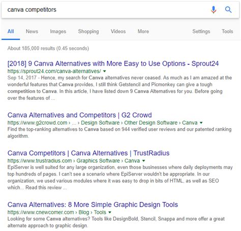 Canva Competitor   6 search operator commands to steal your competition s