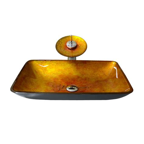 decorative glass vessels decorative rectangular shaped golden glass vessel sink for