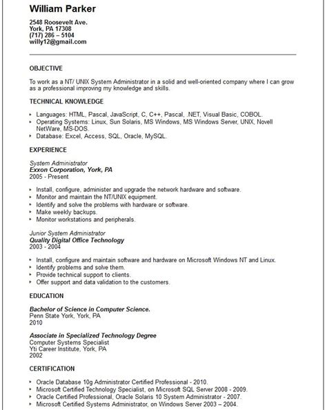 system administrator resume linux free resume sles writing guides for all resume genius