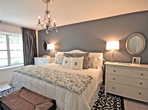 Grey Bedroom On A Budget Rich Light From Ls And A Chandelier Emanates Throughout