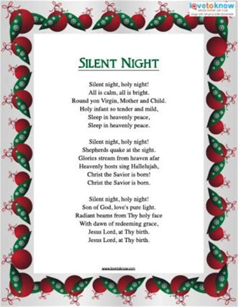 silent testo printable carols lovetoknow