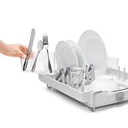 oxo grips convertible foldaway dish rack stainless