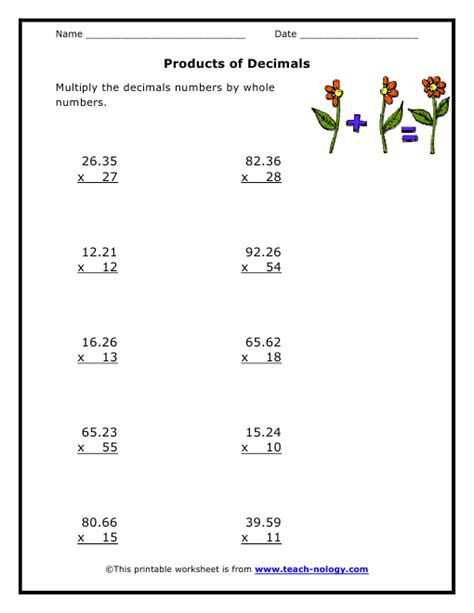 Math Decimal Multiplication Worksheets by Free Decimal Multiplication Coloring Pages