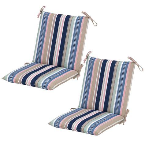 Striped Dining Chair Cushions Hton Bay Hudson Stripe Mid Back Outdoor Dining Chair Cushion 2 Pack 7410 02225500 The
