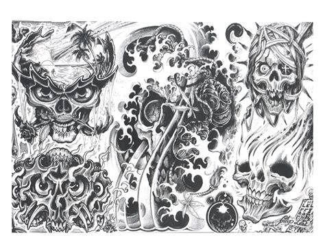 evil tattoo flash skull tattoos