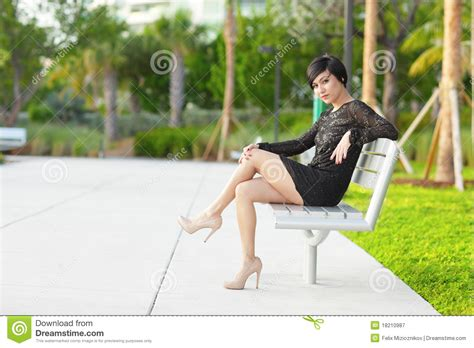 woman on bench woman on the park bench royalty free stock photography