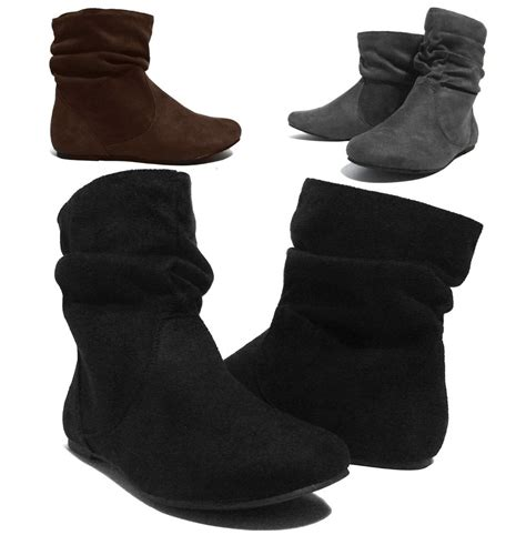ankle flat shoes new womens wrinkle slouch ankle boots flat heel