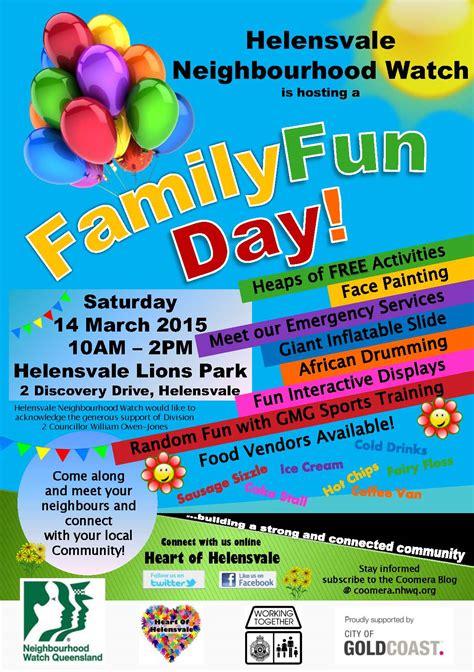 poster design fun day helensvale neighbourhood watch family fun day