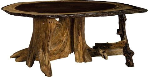 Rustic Oval Coffee Table Amish Rustic Living Oval Coffee Table With Stump Base