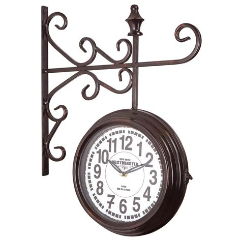 yosemite home decor 16 in double sided iron wall clock in yosemite home decor 16 in x 16 in quot sunflower