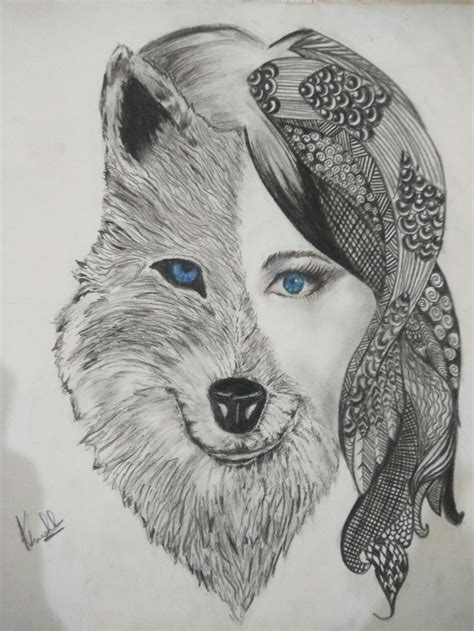 Half Half by Half Half Wolf Drawing Www Pixshark Images