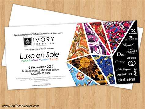 invitation card design for exhibition ivory emporium fashion scarf event invitation card design