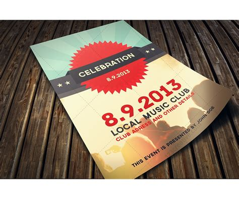 Celebration Flyer Psd Template Retro Flat Modern Design Template For Your Club Nightclub Flyer Celebration Template