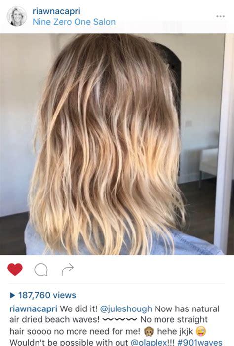dry hair with a beach wave perm julianne hough got an olaplex perm haircare australia