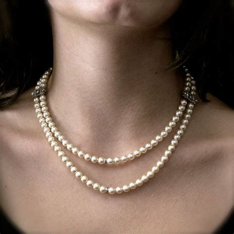 two strand rhinestone pearl necklace by gama weddings