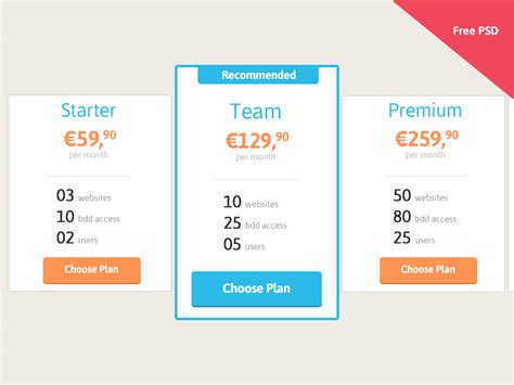 price table design flashuser pricing table free psd by beno 238 t philibert dribbble