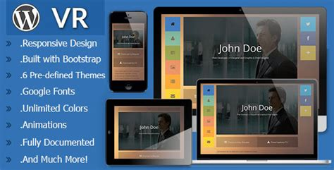 Vr Responsive Vcard Wordpress Theme By Maxdp Themeforest Vr Website Template