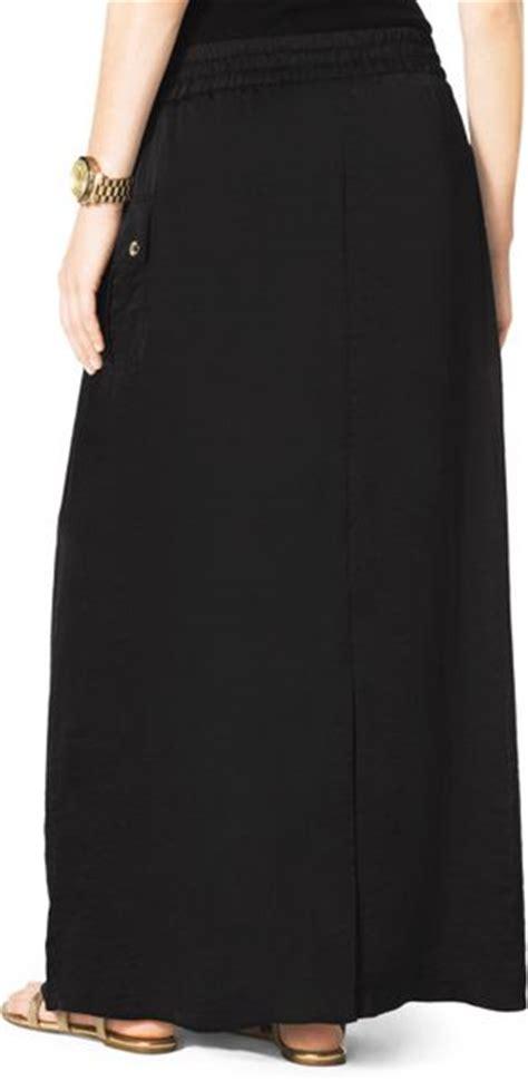 michael by michael kors cargo maxi skirt in black black