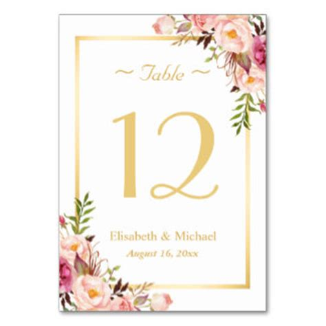 number table cards amp place cards zazzle