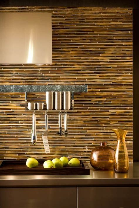 pencil tile backsplash in amber tones beautiful kitchen