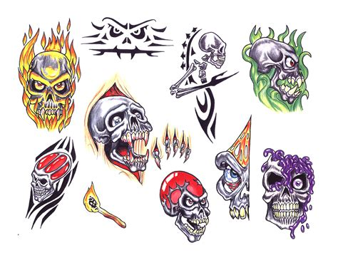 skull adn demon tattoo design img13 171 skulls demons 171 flash