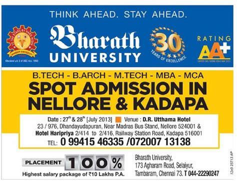 On Spot Mba Admission by Bharath Spot Admissions In Nellore 1nellore