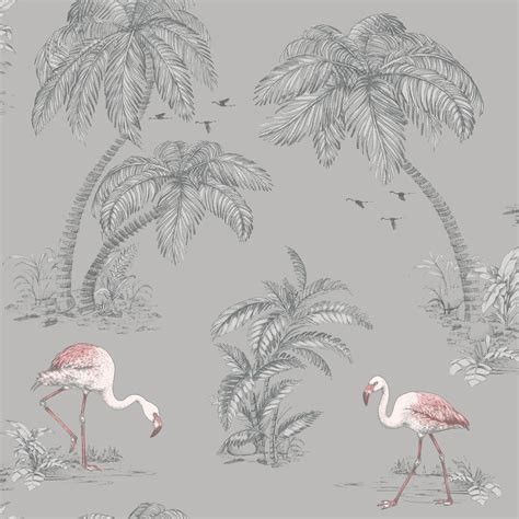 flamingo wallpaper grey holden decor flamingo lake grey wallpaper 12381