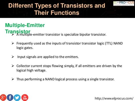 functions of different types of diodes different types of transistors and their functions