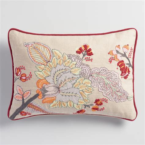Pillow With Embroider S embroidered floral lumbar pillow world market
