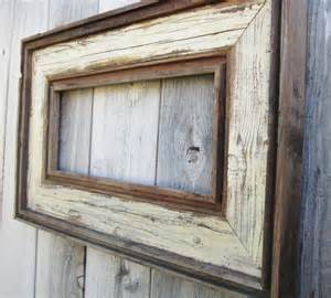 reclaimed barn wood picture frames rustic antique ivory reclaimed wood frame by