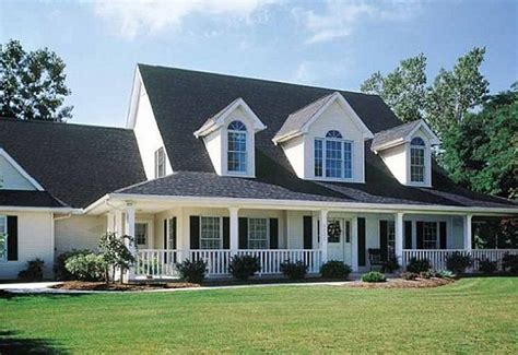 3 front dormers and farmers porch house plans