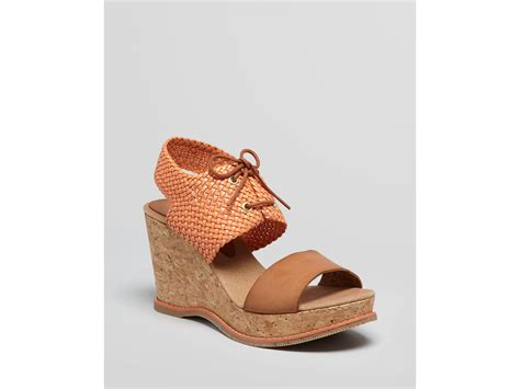 coral wedge sandals andre assous platform wedge sandals julian woven in brown