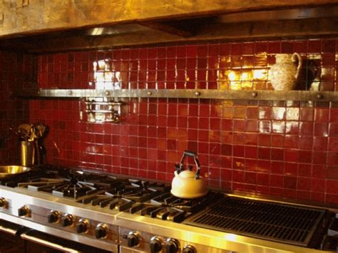 Red Tile Backsplash Kitchen | colorful kitchen backsplash pictures decozilla
