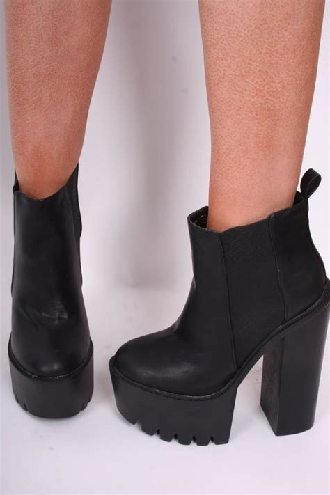 black high heel shoes with soles black cleated sole ankle platform high heel boots shoes