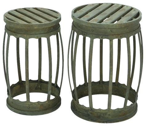 set of 2 barrel shaped metal stool with antique green