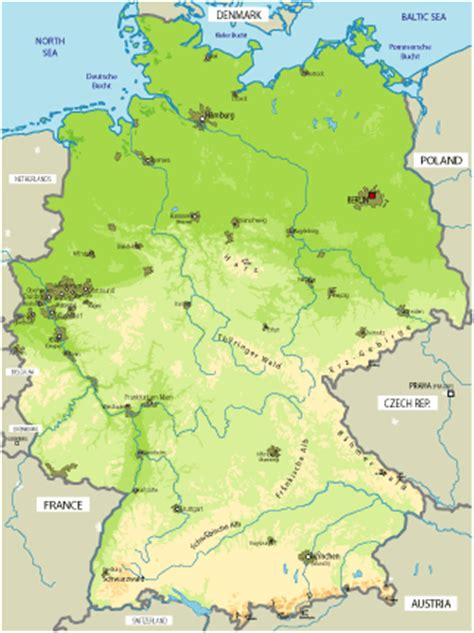 germany geographical map physical map of germany