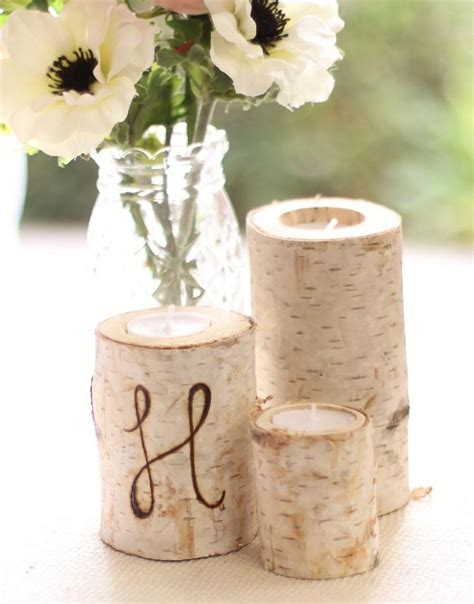 home decor birch wood candle holders wedding decor personalized birch bark candle holders rustic chic wedding