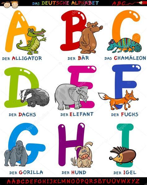 lettere con animali alfabeto tedesco cartone animato con animali